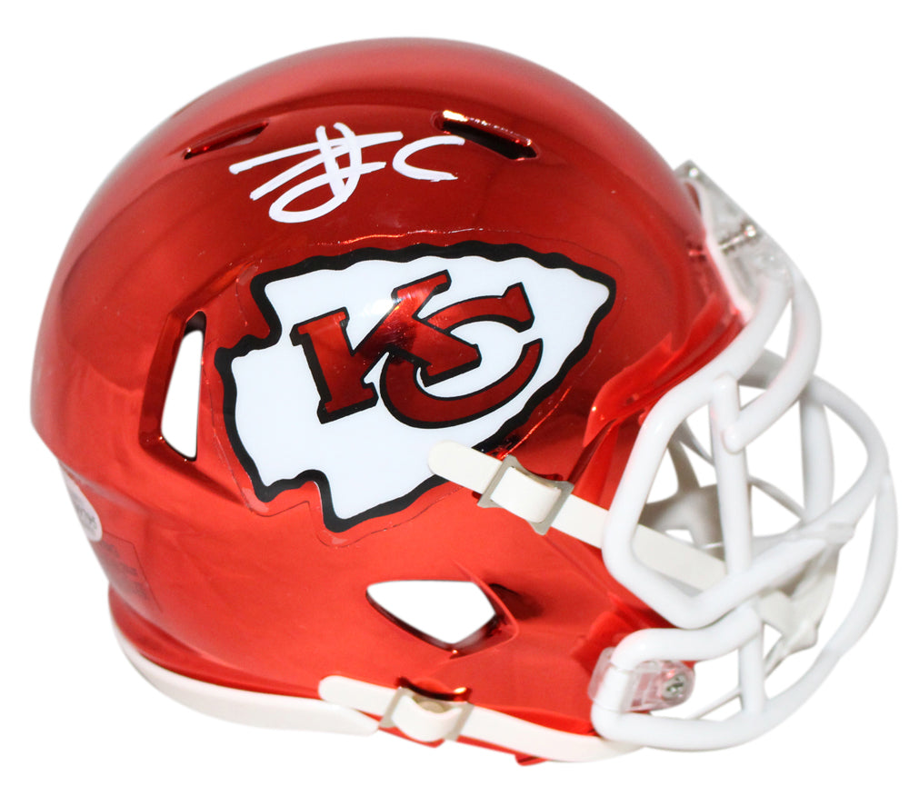 Travis Kelce Autographed/Signed Kansas City Chiefs Chrome Mini Helmet BAS PSM-Powers Sports Memorabilia