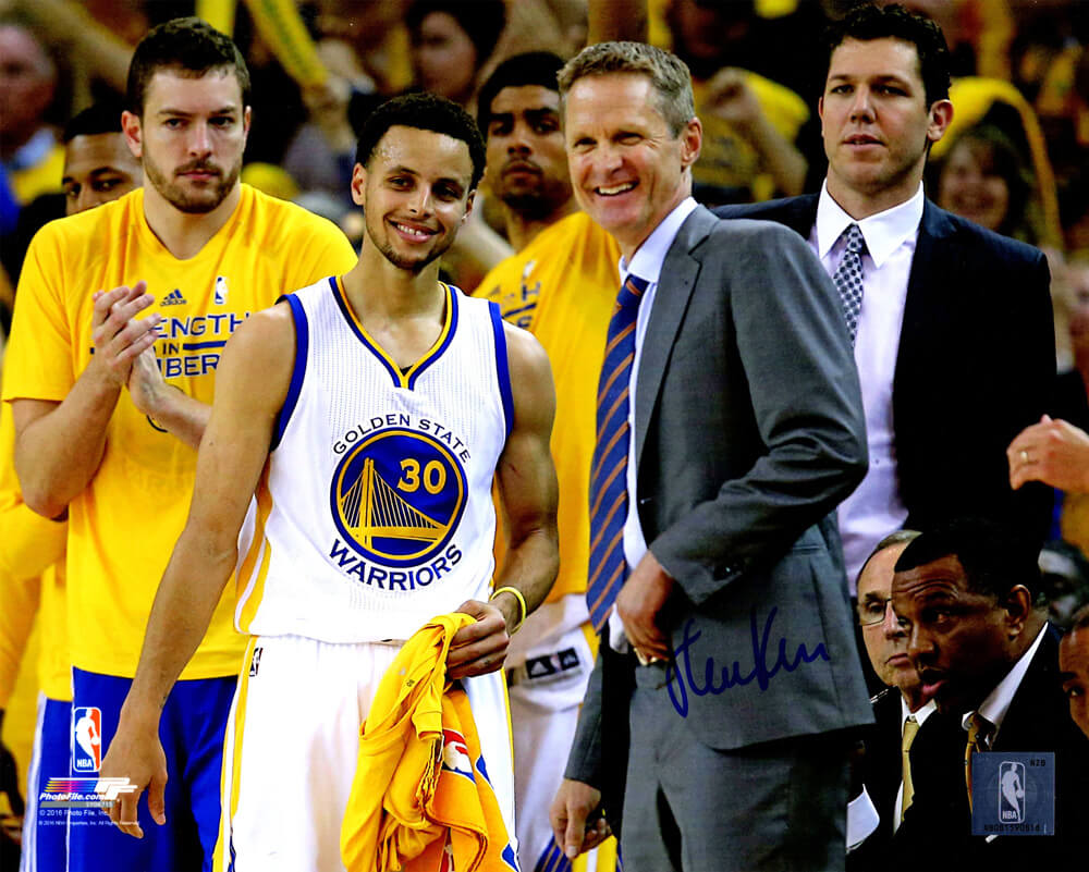 Steve Kerr Signed Golden State Warriors Standing With Stephen Curry 8x10 Photo PSM-Powers Sports Memorabilia