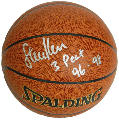 Steve Kerr Signed Spalding NBA Indoor/Outdoor Basketball w/3 Peat 96-98 PSM-Powers Sports Memorabilia