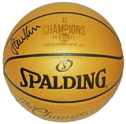 Steve Kerr Signed Spalding Golden State Warriors 2017 Champions Gold Basketball (LE/17) PSM-Powers Sports Memorabilia