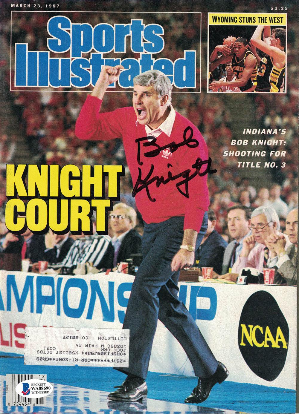 Bob Knight Autographed Indiana Hoosiers Sports Illustrated Magazine BAS PSM-Powers Sports Memorabilia