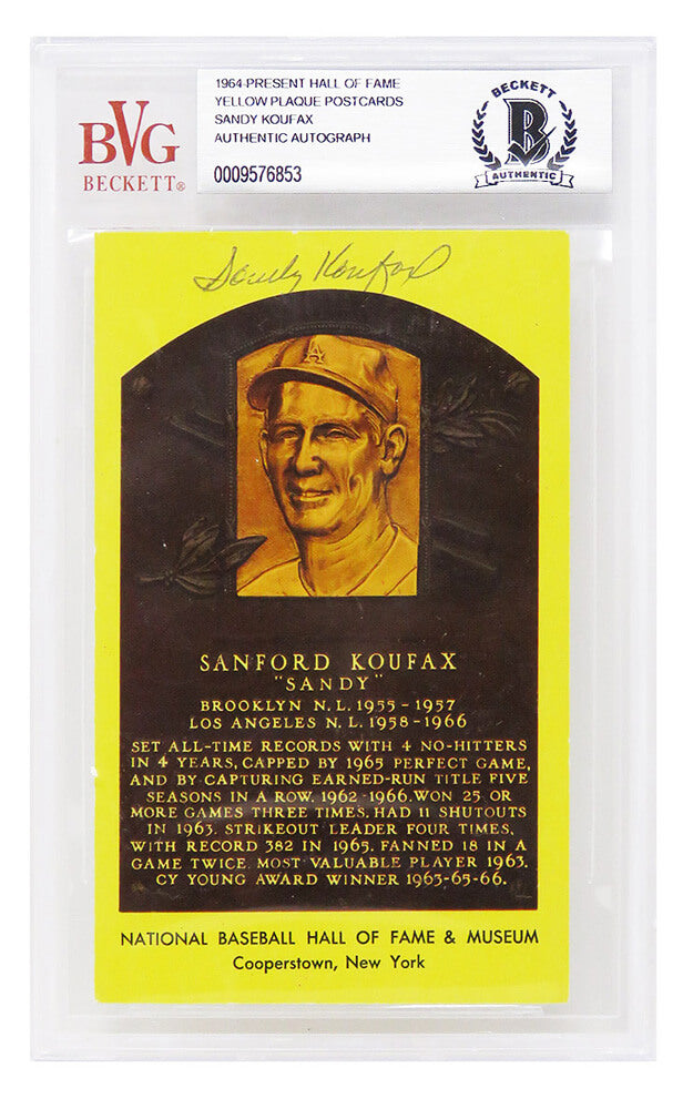 Sandy Koufax Signed National Baseball Hall of Fame Plaque Card - (Beckett Encapsulated) PSM-Powers Sports Memorabilia