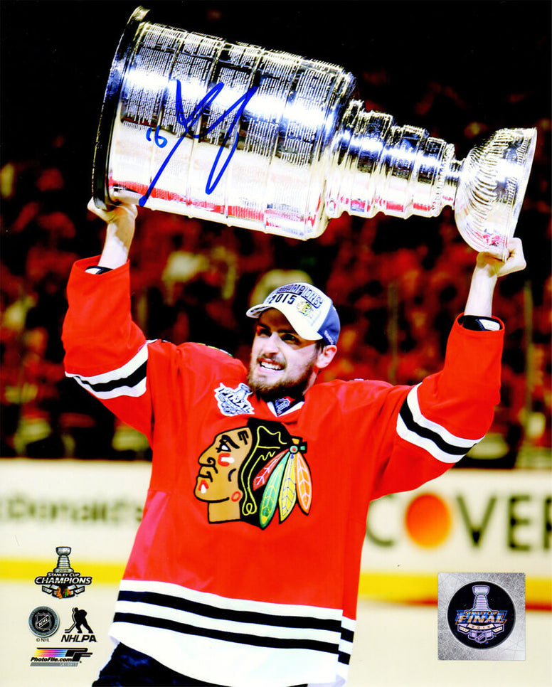 Marcus Kruger Signed Blackhawks 2015 Stanley Cup Trophy 8x10 Photo PSM-Powers Sports Memorabilia