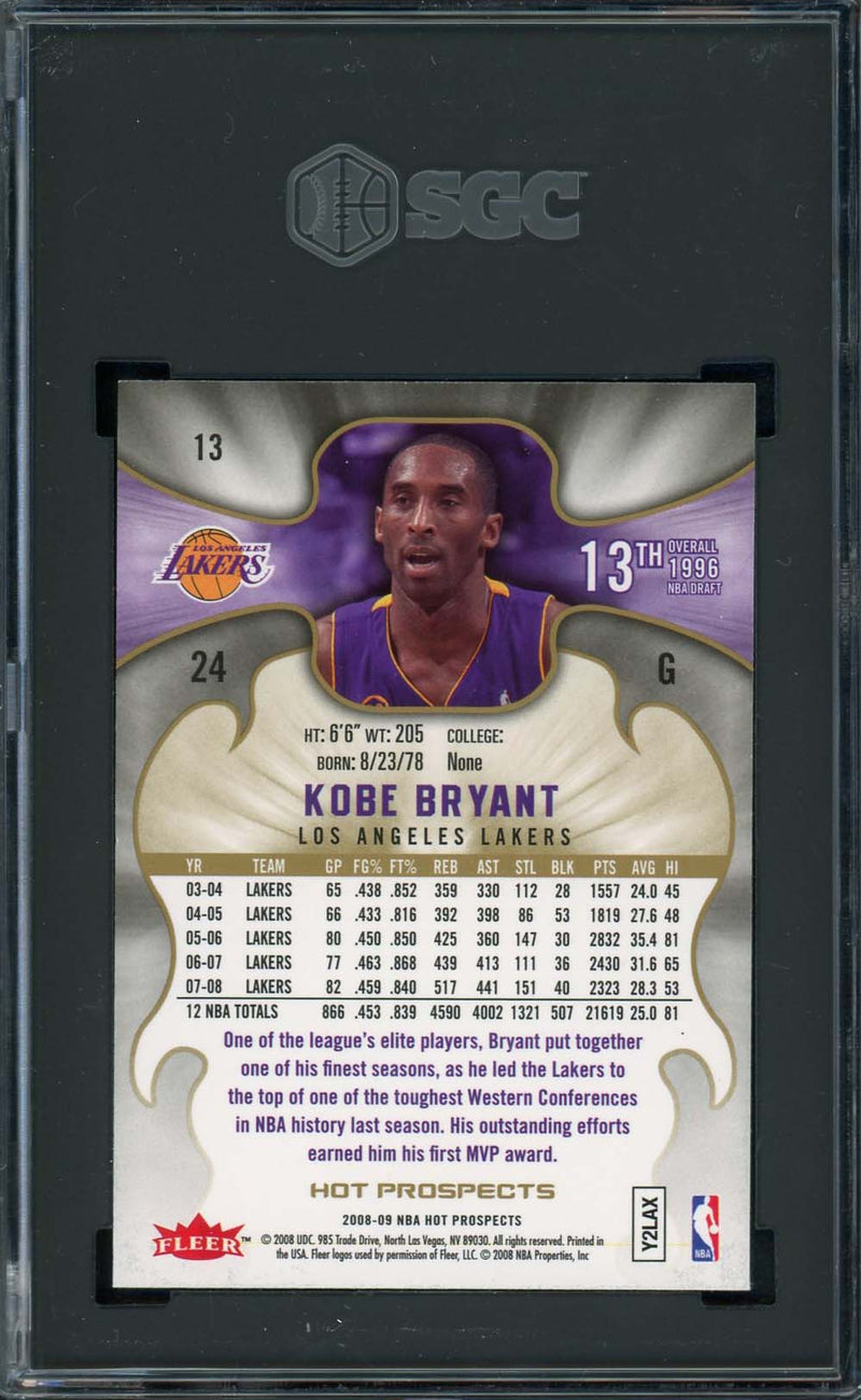 Kobe Bryant Los Angeles Lakers 2008 Fleer Hot Prospects Basketball Card #13 Graded SGC 10 GEM MINT-Powers Sports Memorabilia
