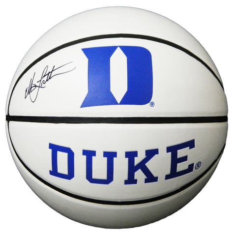 Christian Laettner Signed Duke Blue Devils Baden White Team Logo Basketball PSM-Powers Sports Memorabilia