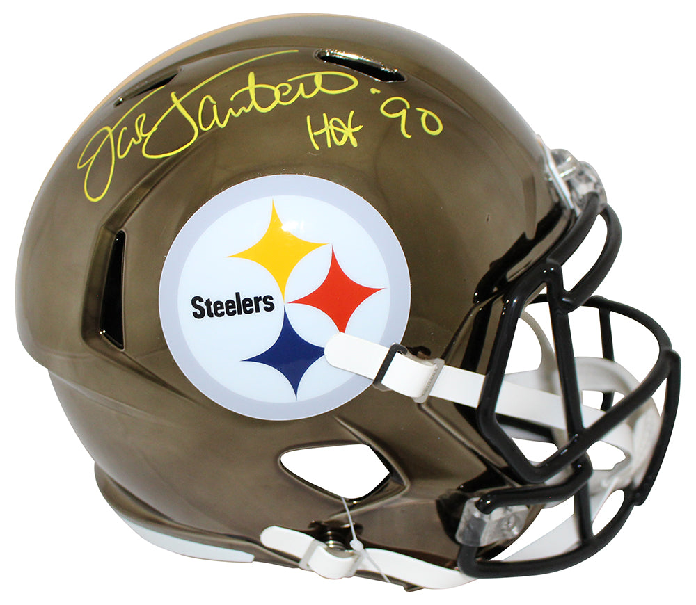 Jack Lambert Autographed Pittsburgh Steelers Chrome Replica Helmet BAS PSM-Powers Sports Memorabilia