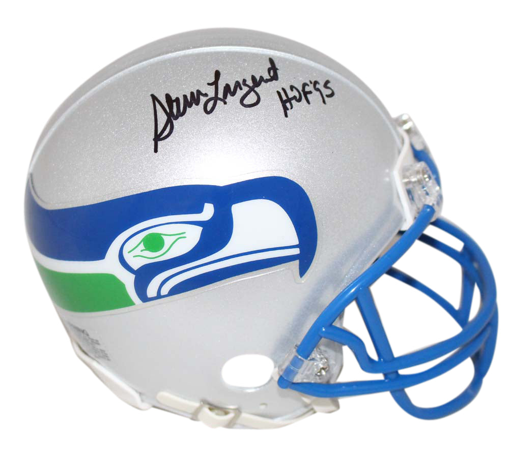 Steve Largent Autographed/Signed Seattle Seahawks Mini Helmet HOF BAS PSM-Powers Sports Memorabilia