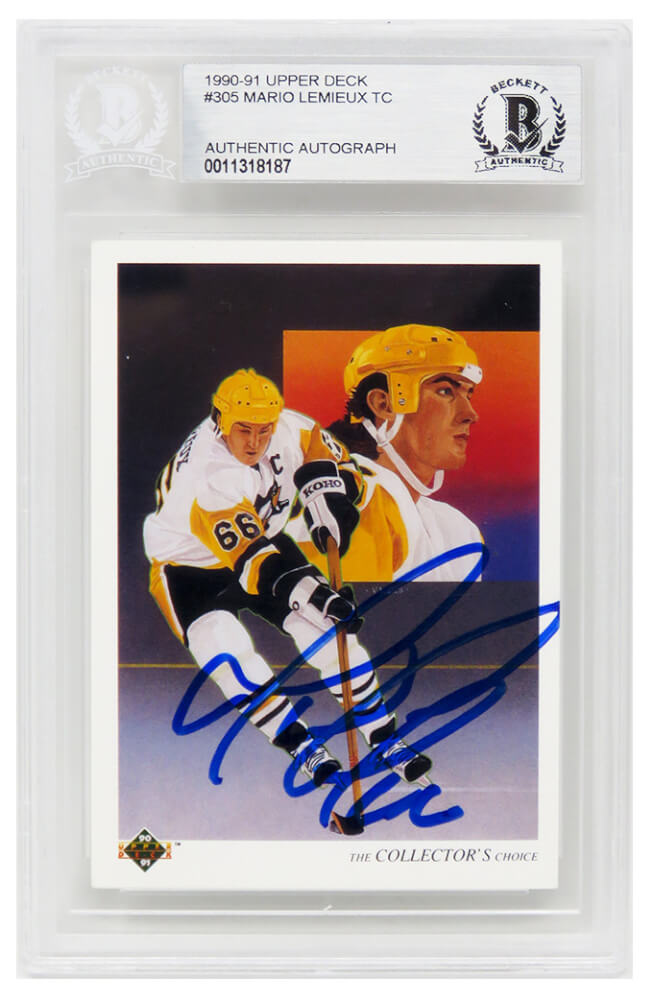 Mario Lemieux Signed Pittsburgh Penguins 1990-91 Upper Deck Hockey Trading Card #305 (Beckett Encapsulated) PSM-Powers Sports Memorabilia