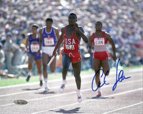 Carl Lewis Autographed 1984 Olympic 8x10 Photo-Powers Sports Memorabilia