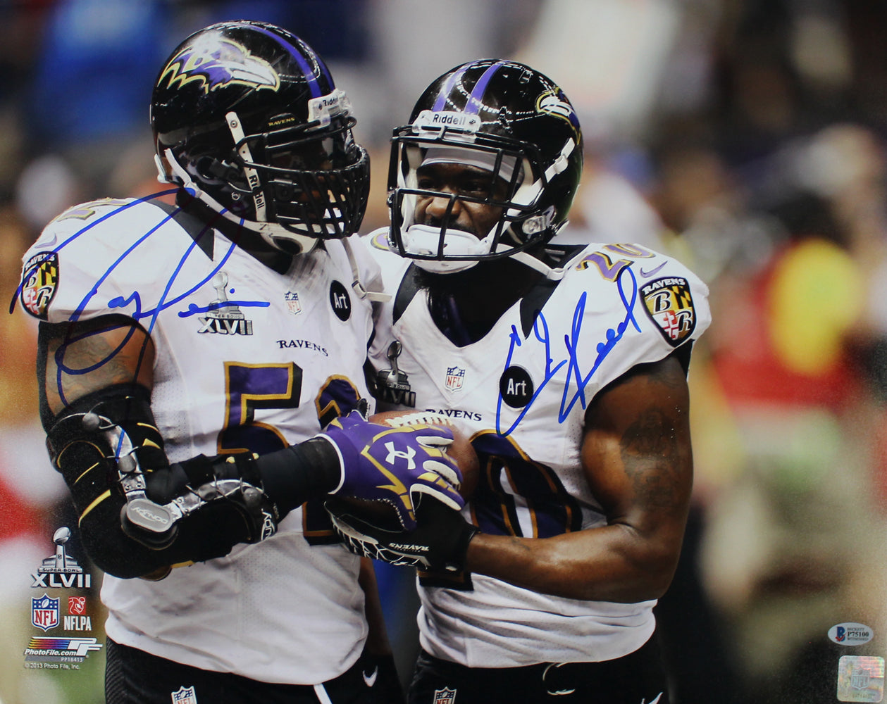Ray Lewis & Ed Reed Autographed Baltimore Ravens 16x20 Photo BAS PF PSM-Powers Sports Memorabilia