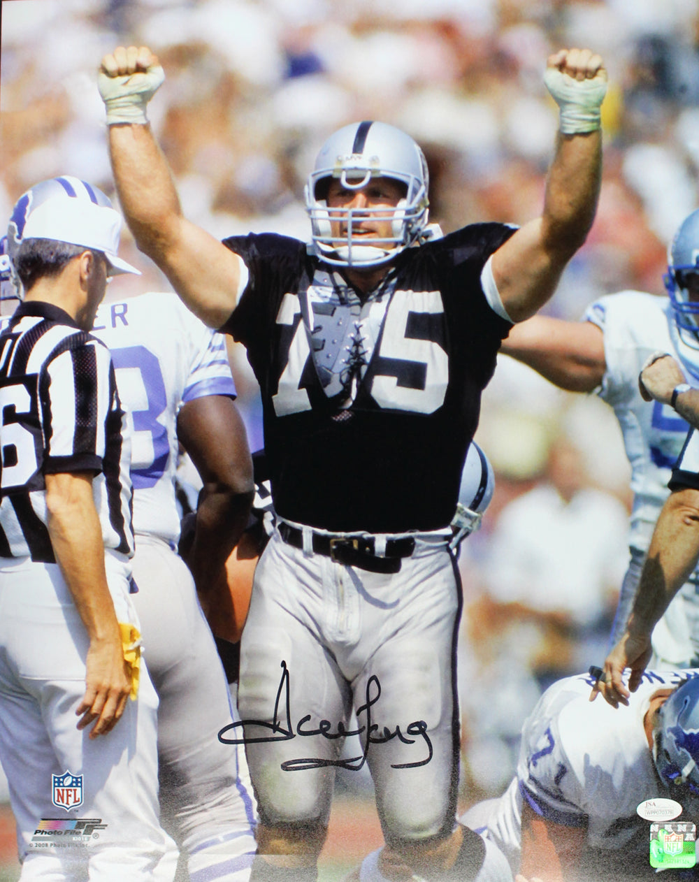 Howie Long Autographed/Signed Oakland Raiders 16x20 Photo JSA PF PSM-Powers Sports Memorabilia