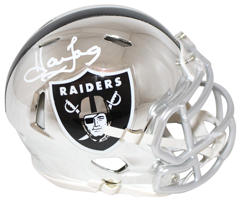 Howie Long Autographed/Signed Oakland Raiders Chrome Mini Helmet JSA PSM-Powers Sports Memorabilia