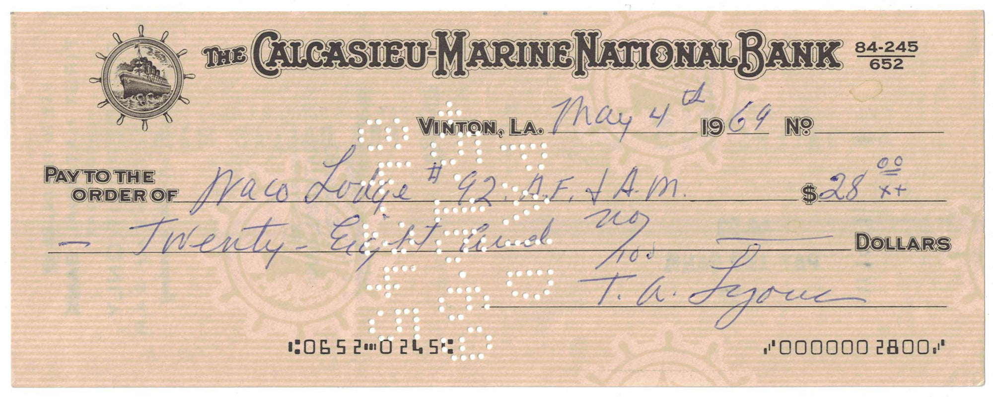 Ted Lyons Signed Chicago White Sox 1969 Personal Check Calcasieu-Marine PSM-Powers Sports Memorabilia