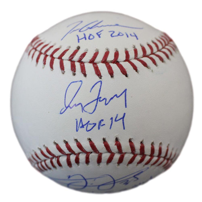 Greg Maddux Tom Glavine & Frank Thomas Signed OML Baseball 2014 HOF JSA PSM-Powers Sports Memorabilia