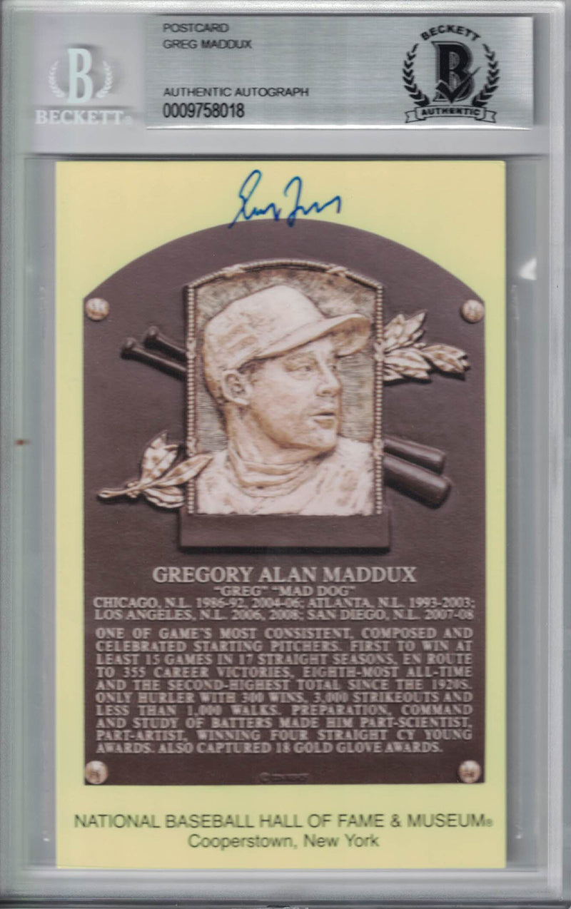 Greg Maddux Autographed Atlanta Braves Hall Of Fame Postcard BAS Slab PSM-Powers Sports Memorabilia