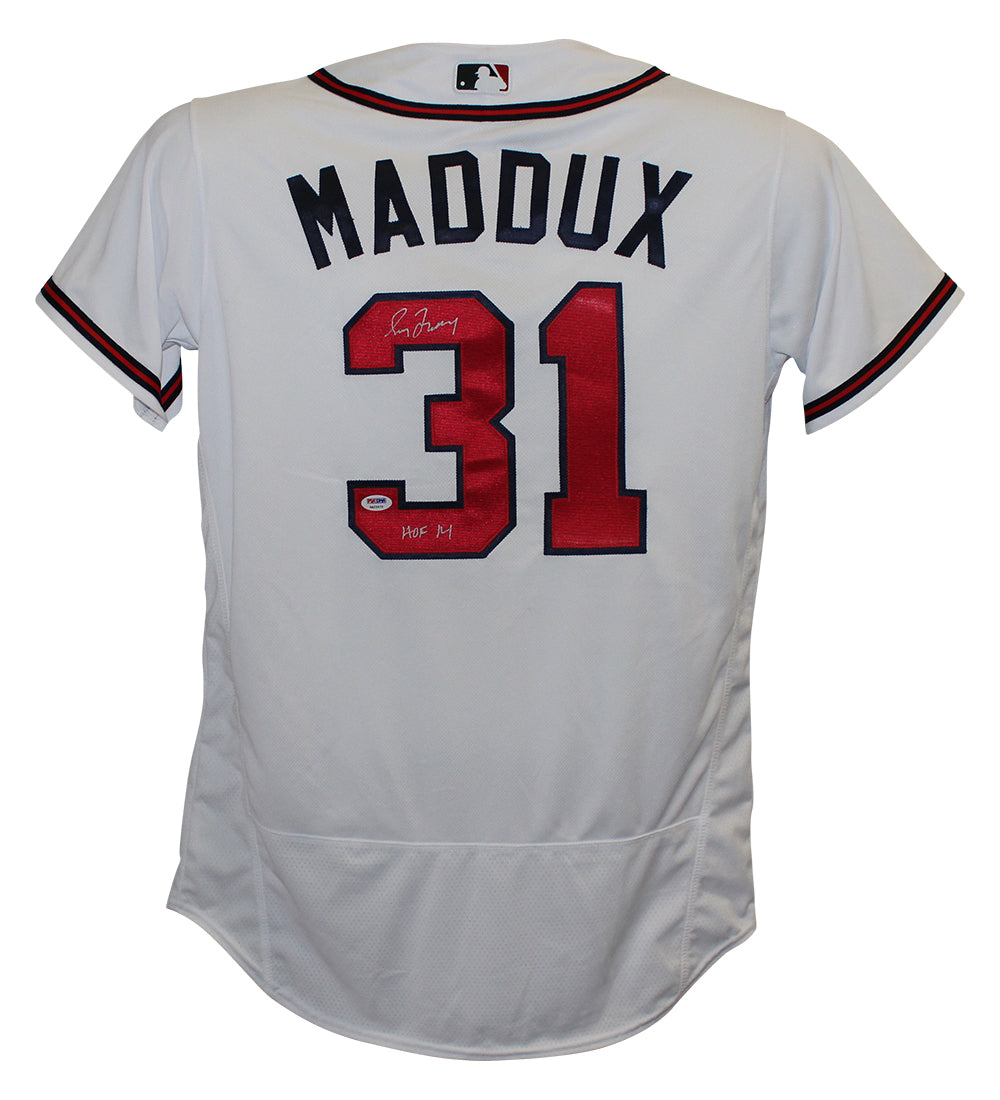 Greg Maddux Autographed Atlanta Braves Majestic White 44 Jersey HOF PSA PSM-Powers Sports Memorabilia