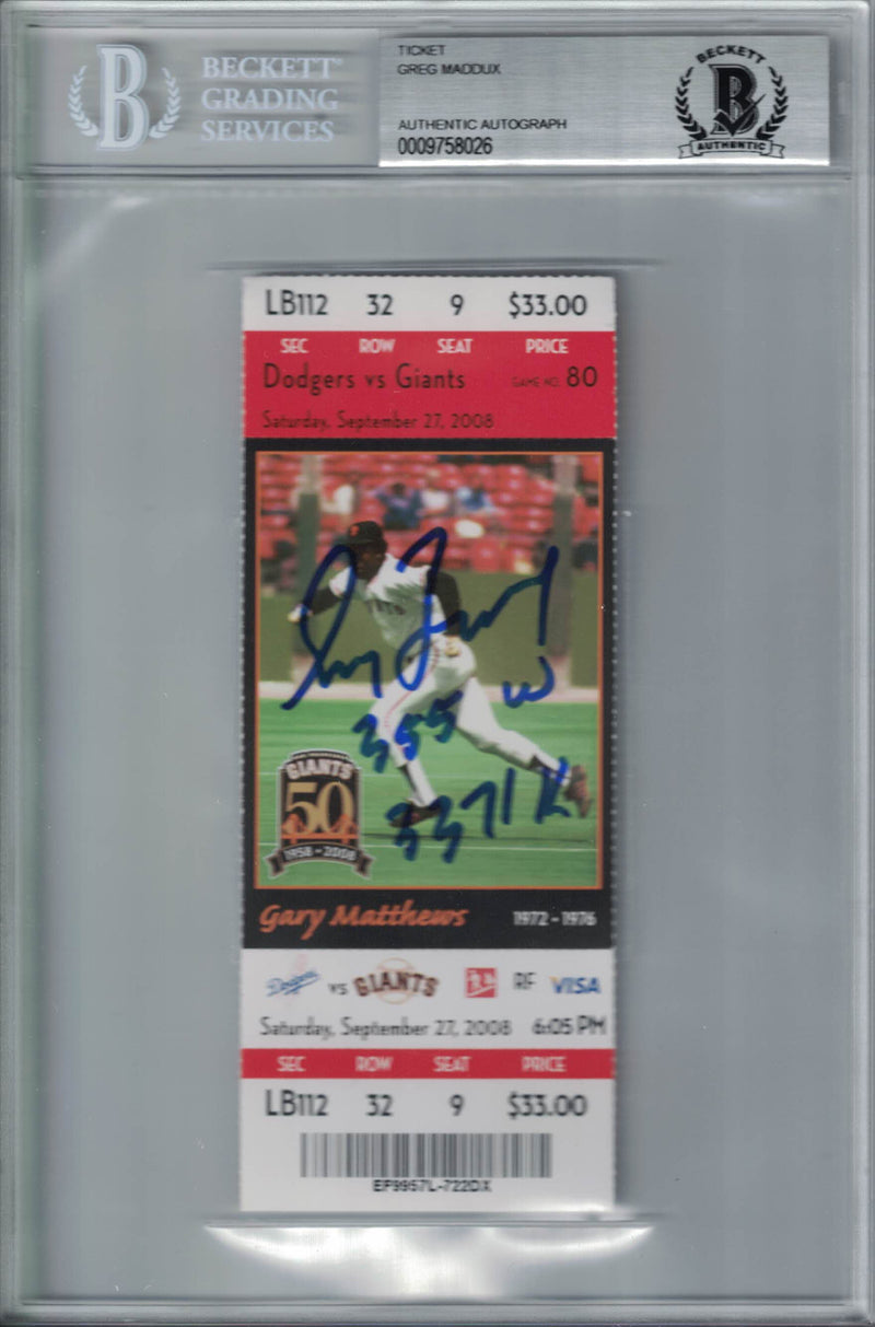 Greg Maddux Signed Los Angeles Dodgers Ticket 355 W & 3371 K BAS Slab PSM-Powers Sports Memorabilia