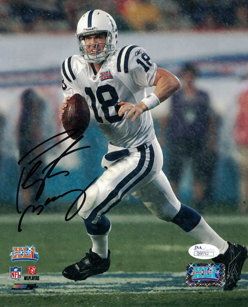 Peyton Manning Autographed Indianapolis Colts 8x10 Photo (Vertical Rain) JSA PSM-Powers Sports Memorabilia
