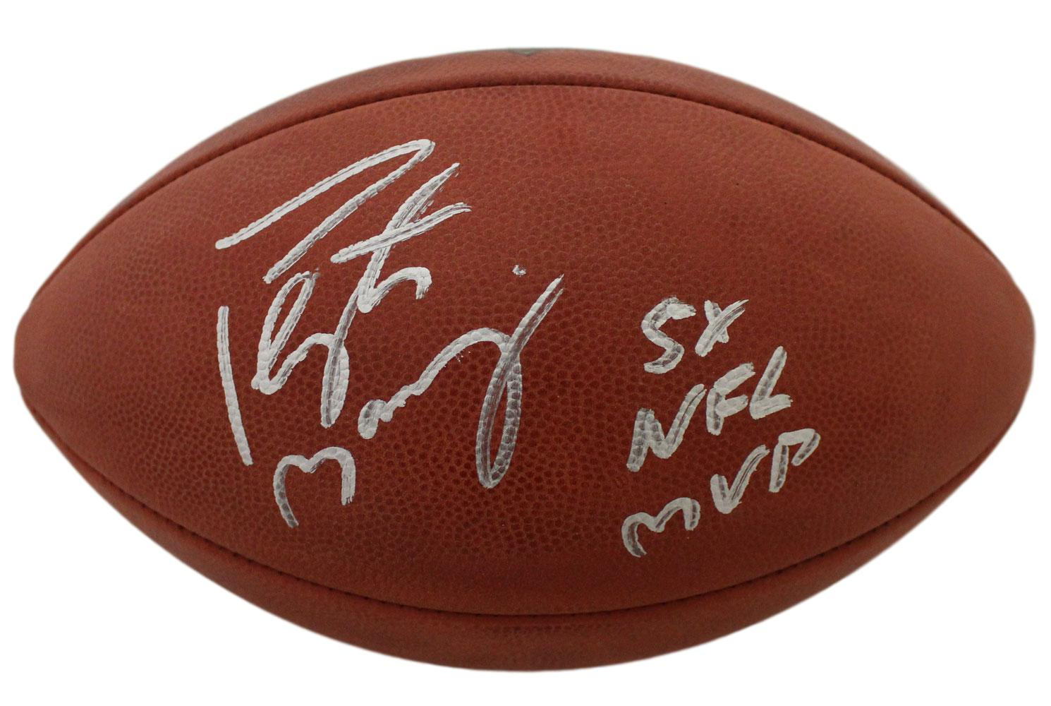 Peyton Manning Signed Denver Broncos Official Football 5x NFL MVP FAN PSM-Powers Sports Memorabilia