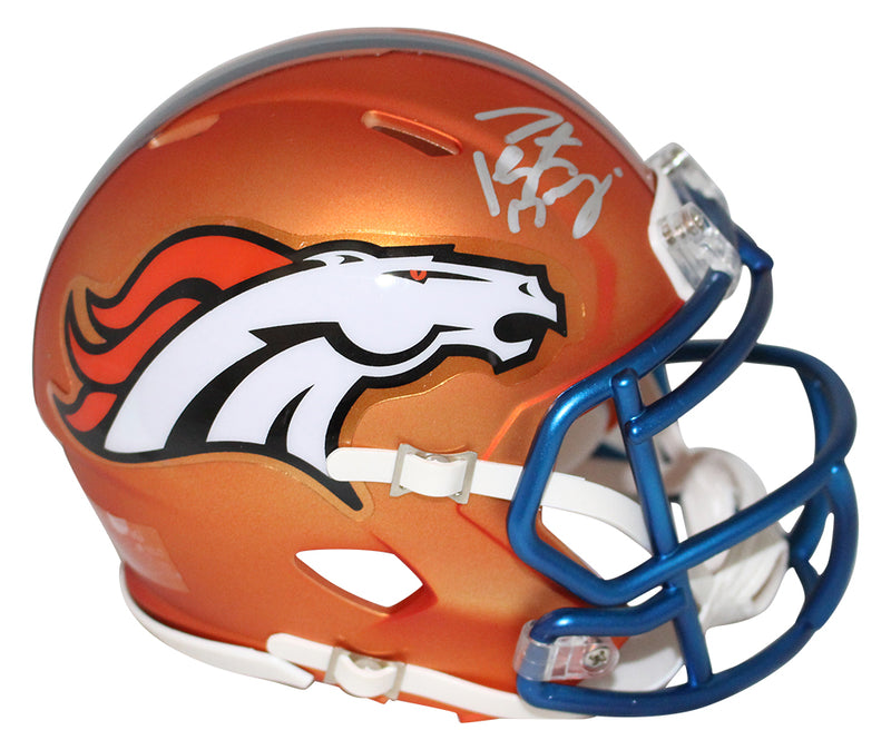 Peyton Manning Autographed Denver Broncos Blaze Mini Helmet FAN PSM-Powers Sports Memorabilia