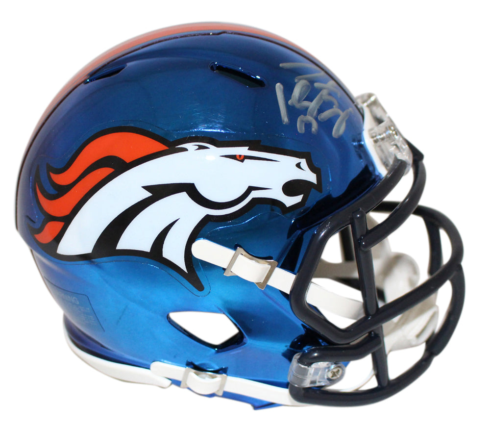 Peyton Manning Autographed/Signed Denver Broncos Chrome Mini Helmet FAN PSM-Powers Sports Memorabilia