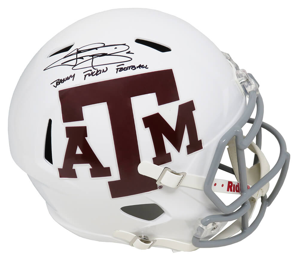 Johnny Manziel Signed Texas A&M White Riddell Full Size Speed Replica Helmet w/Johnny F*^ckin Football PSM-Powers Sports Memorabilia