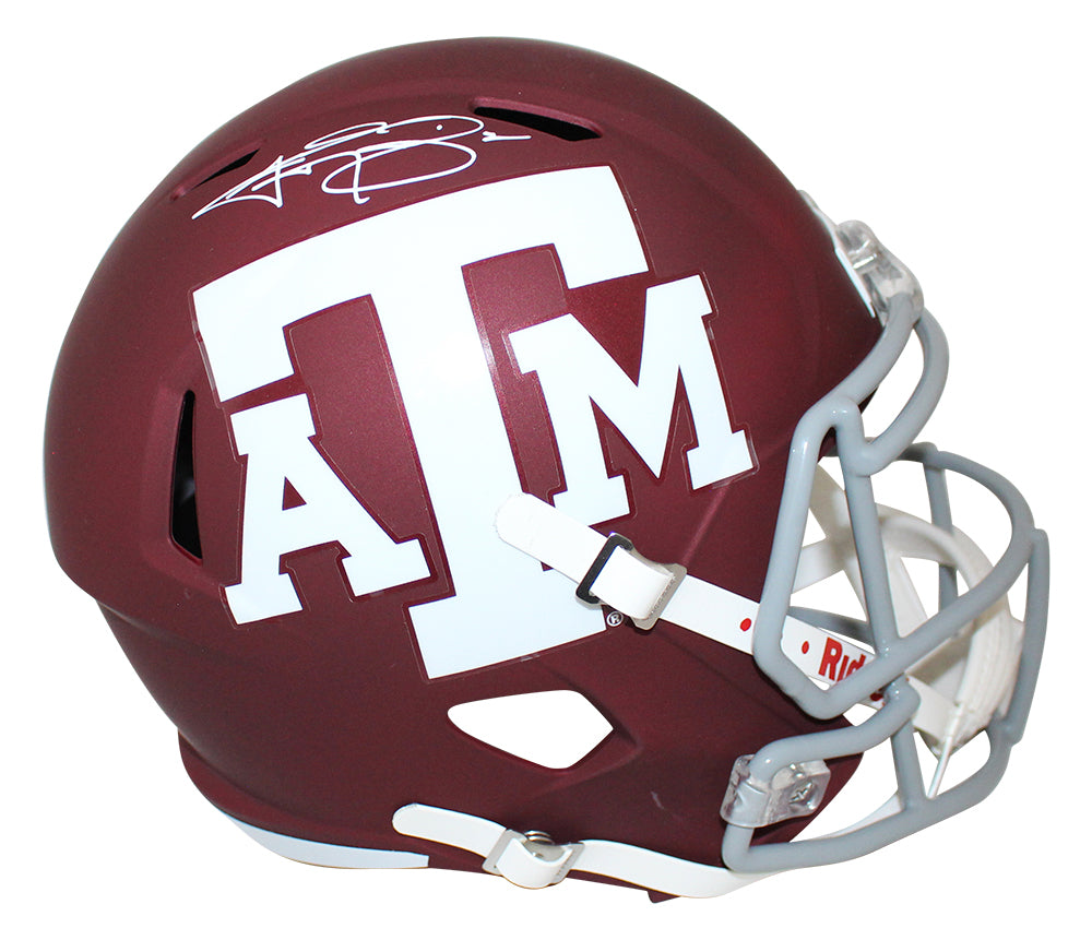 Johnny Manziel Autographed Texas A&M Aggies Red Speed Replica Helmet JSA PSM-Powers Sports Memorabilia