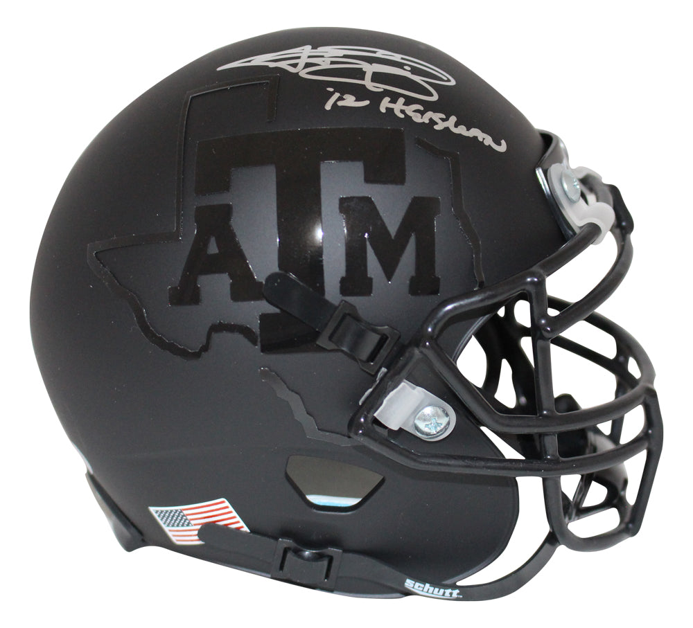 Johnny Manziel Signed Texas A&M Aggies Black Schutt Mini Helmet Heisman BAS PSM-Powers Sports Memorabilia