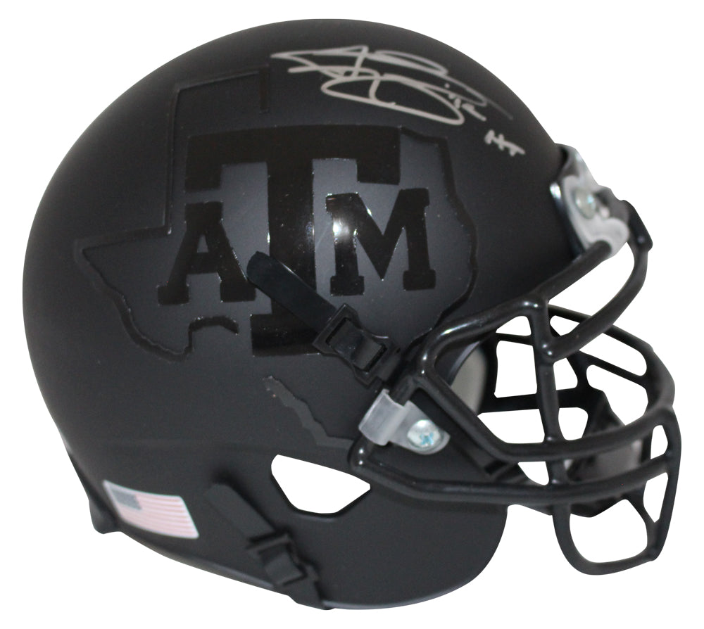 Johnny Manziel Autographed Texas A&M Aggies Black Schutt Mini Helmet HT BAS PSM-Powers Sports Memorabilia