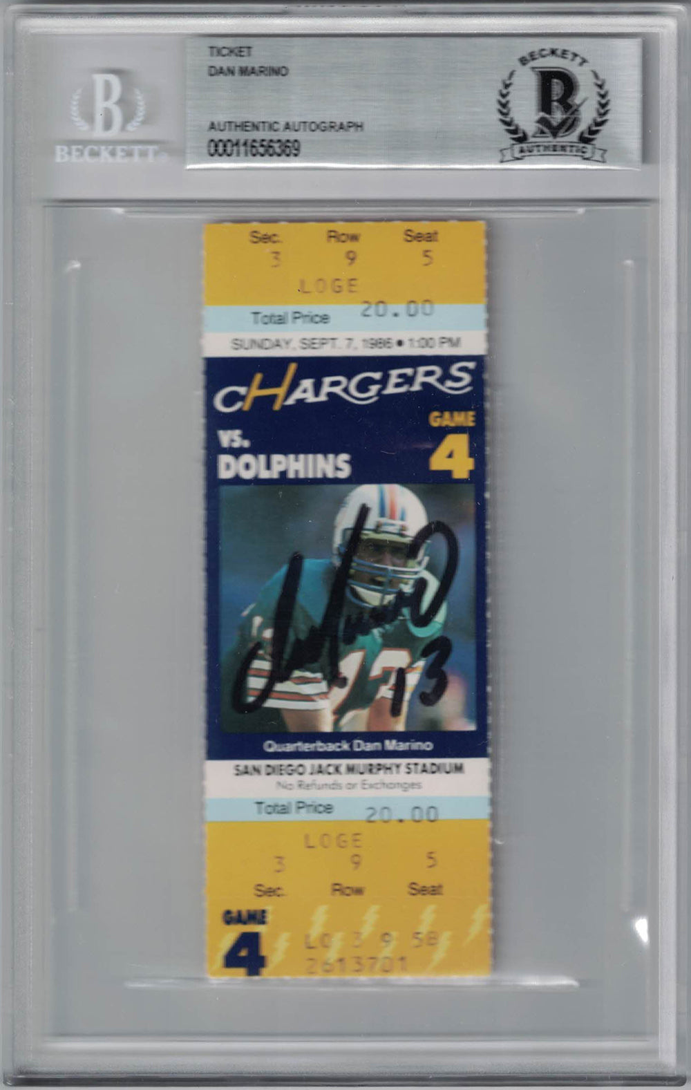 Dan Marino Autographed/Signed Miami Dolphins Ticket 100th TD BAS Slab PSM-Powers Sports Memorabilia