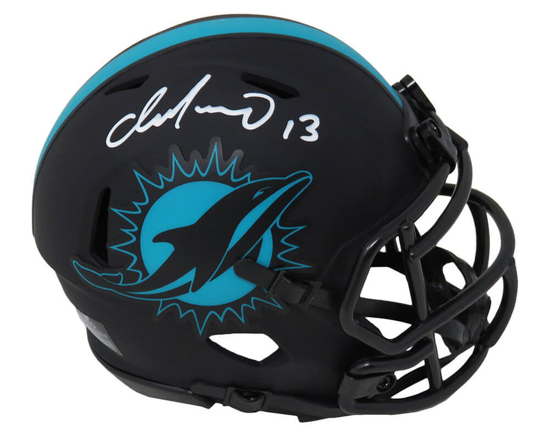 Dan Marino Signed Miami Dolphins Eclipse Black Matte Riddell Speed Mini Helmet PSM-Powers Sports Memorabilia