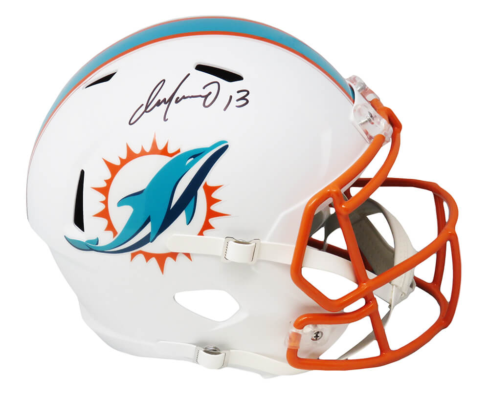 Dan Marino Signed Miami Dolphins Flat White Matte Riddell Full Size Speed Replica Helmet PSM-Powers Sports Memorabilia