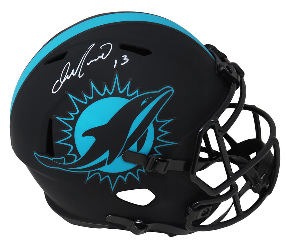 Dan Marino Signed Miami Dolphins Eclipse Black Matte Riddell Full Size Speed Replica Helmet PSM-Powers Sports Memorabilia