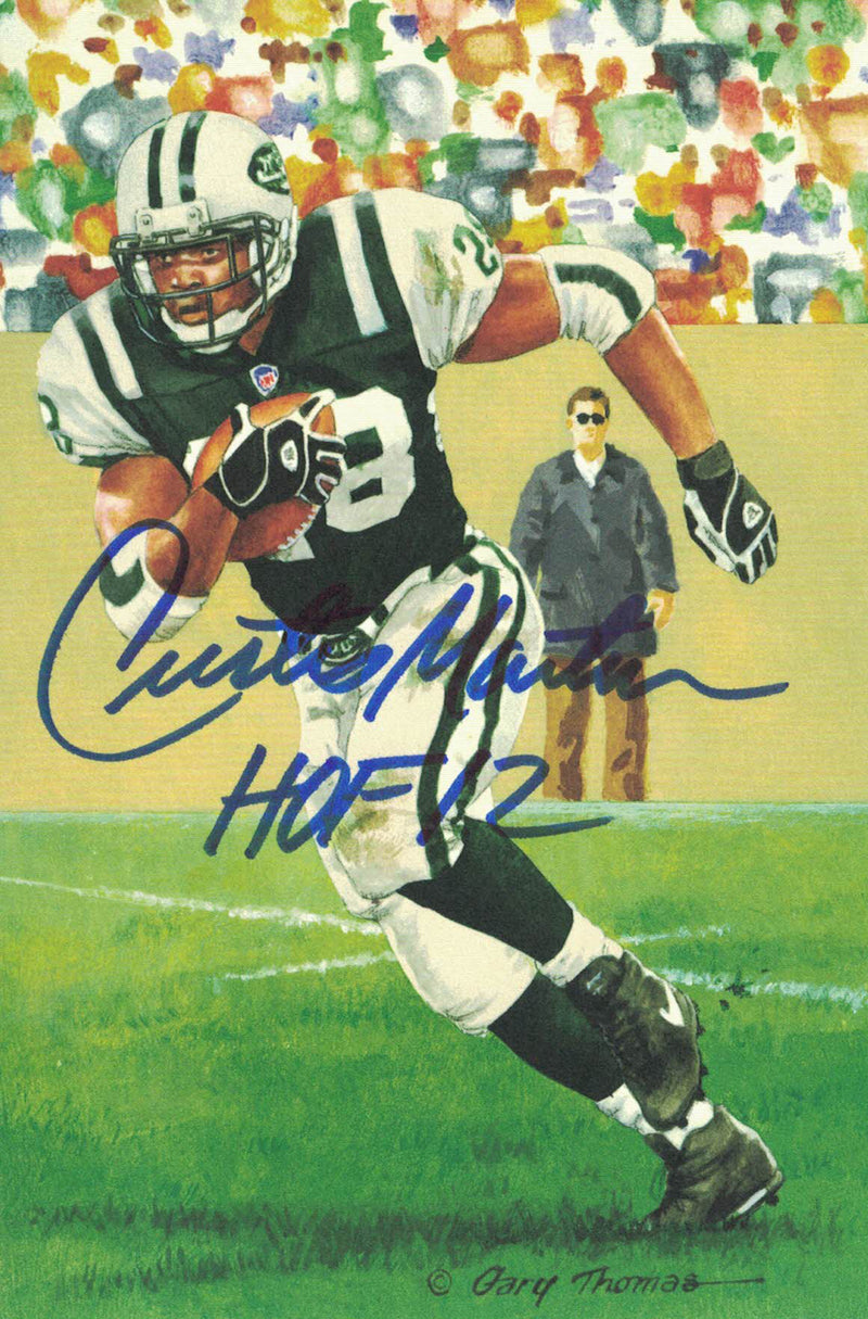 Curtis Martin Autographed New York Jets Goal Line Art Card Blue HOF PSM-Powers Sports Memorabilia