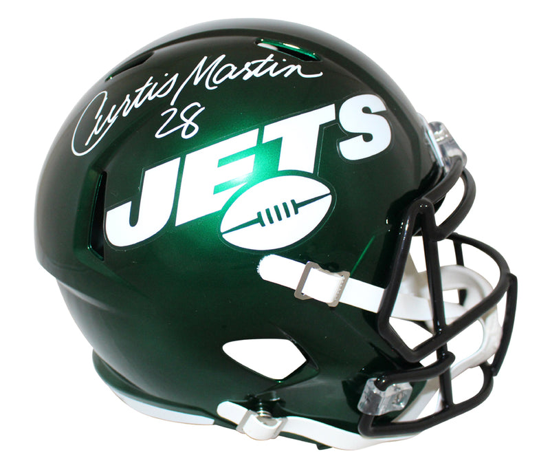Curtis Martin Autographed/Signed New York Jets Speed Replica Helmet JSA PSM-Powers Sports Memorabilia