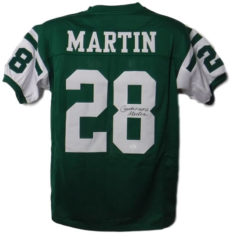 Curtis Martin Autographed New York Jets Size XL Green Jersey HOF JSA PSM-Powers Sports Memorabilia