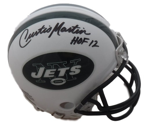 Curtis Martin Autographed New York Jets Riddell Mini Helmet HOF 12 JSA PSM-Powers Sports Memorabilia