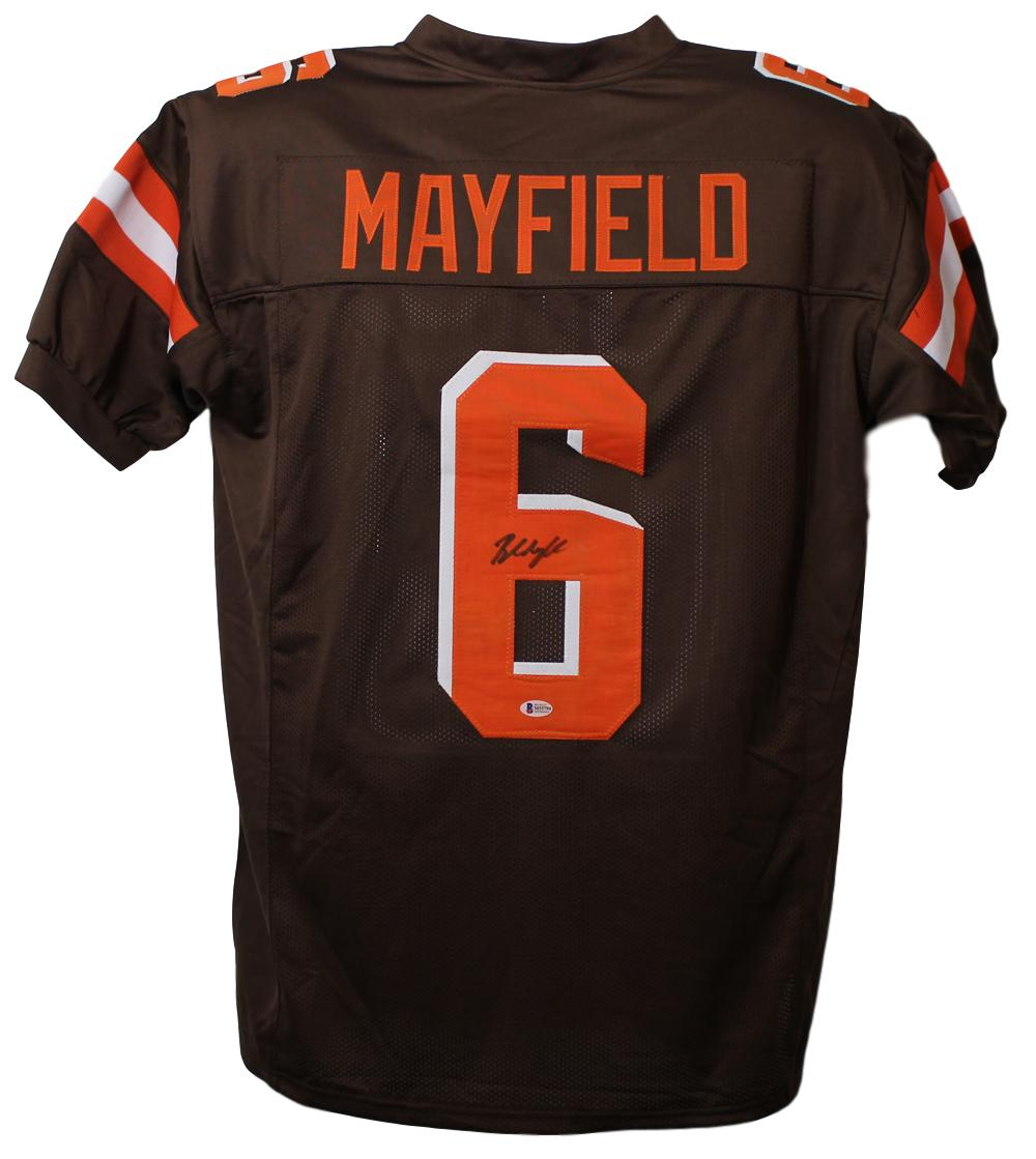 Baker Mayfield Autographed Cleveland Browns XL Brown Jersey BAS PSM-Powers Sports Memorabilia