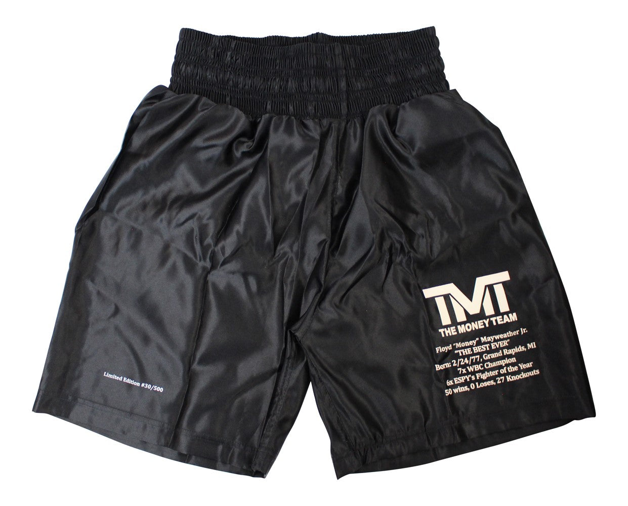 Floyd Mayweather Unsigned LE/500 TMT Black Trunks PSM-Powers Sports Memorabilia