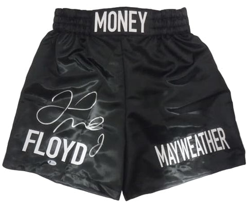 Floyd Mayweather Autographed Black Boxing Trunks BEC PSM-Powers Sports Memorabilia