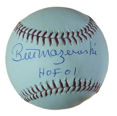 Bill Mazeroski Autographed Pittsburgh Pirates MLB Baseball w/HOF 01 PSM-Powers Sports Memorabilia