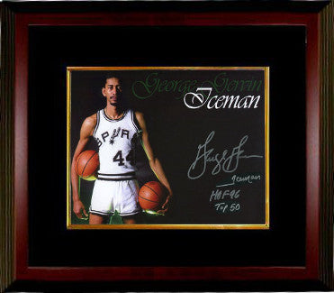 George Gervin signed San Antonio Spurs 16x20 Photo Custom Framing w/ 3 insc Iceman, HOF 96, TOP 50 (Collage) PSM-Powers Sports Memorabilia