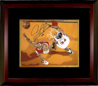 Dennis Rodman signed Chicago Bulls 16X20 Photo Custom Framing w/ Charles Oakley - Leaf Authentics PSM-Powers Sports Memorabilia