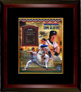 Tom Glavine signed Atlanta Braves Collage 16x20 Photo Custom Framing w/ HOF 2014 - JSA Hologram PSM-Powers Sports Memorabilia