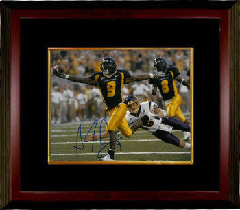 Adam Pacman Jones signed West Virginia Mountaineers 8x10 Photo #9 Custom Framing (navy jersey) PSM-Powers Sports Memorabilia