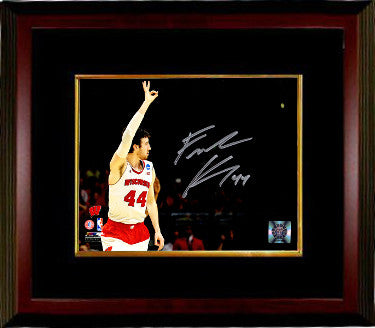 Frank Kaminsky signed Wisconsin Badgers 8x10 Photo Custom Framing #44 (Three Fingers Raised in the Air) PSM-Powers Sports Memorabilia