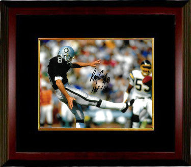 Ray Guy signed Oakland Raiders 8x10 Photo Custom Framed #8 HOF 14 (horizontal) PSM-Powers Sports Memorabilia