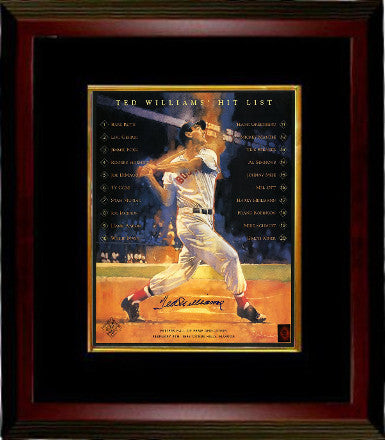 Ted Williams signed Williams Hit List 16x20 Photo Custom Wood Framing/black matting – Green Diamond Hologram (Boston Red Sox) PSM-Powers Sports Memorabilia