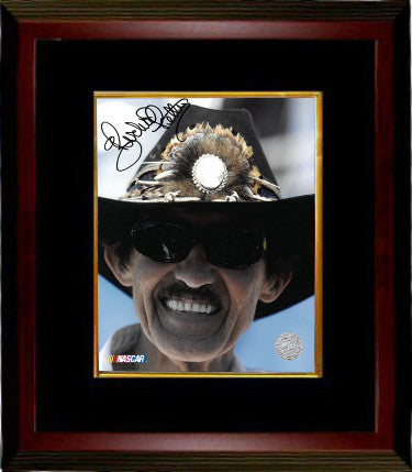 Richard Petty signed NASCAR 8X10 Photo Custom Framed (close up/black hat) PSM-Powers Sports Memorabilia