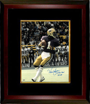 Warren Moon signed Washington Huskies 16x20 Photo Custom Framed 78 Rose Bowl MVP- Mill Creek Hologram PSM-Powers Sports Memorabilia